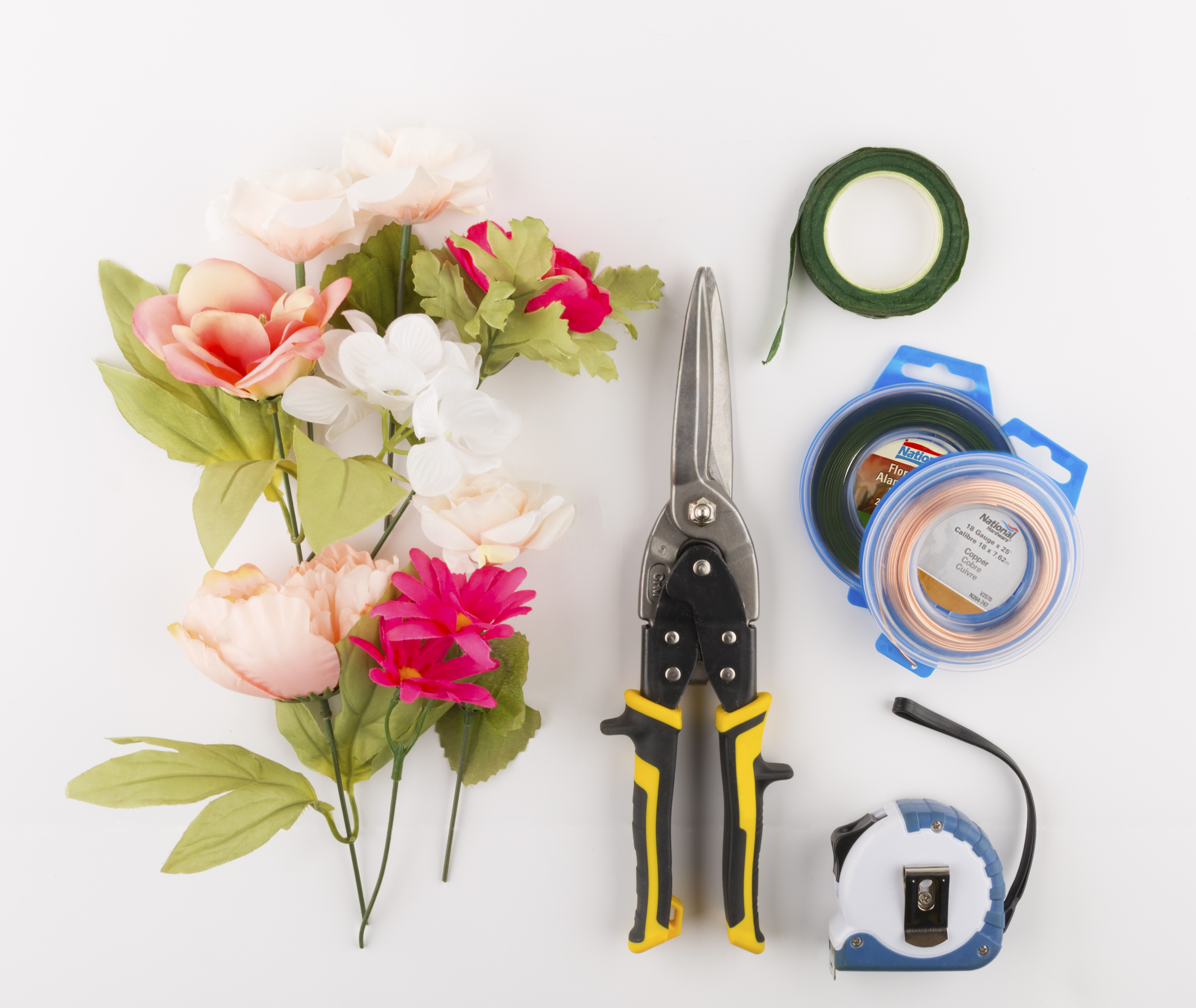 Diy flower crown for less national hardware its the little to start youll need the following supplies measuring tape wire cutter copper wire floral wire floral tape flowers greenery izmirmasajfo